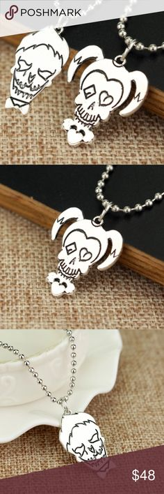 """Suicide Squad Joker Harley Quinn Necklace Set ♦️🃏 Suicide Squad fans, this is for you! A perfect gift idea! Great relationship or best friend necklace set! Set of TWO: Joker and Harley Quinn skull necklaces! Pretty cool, edgy & a little different. Shiny silver tone finish. Zinc alloy, nickel-free. Unisex jewelry. Each pendant is app 1"""". Ball link chain has app 16"""" length. Sold as a 2-piece Joker/Harley Quinn set only. No trades/holds. Bundle for 10% off! Jewelry Necklaces"""