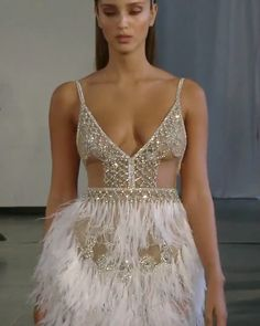 Fall Winter 2019 Bridal Couture Collection : Gorgeous Embellished Backless Slip Wedding Mini Dress / Short Dress with Spaghetti Straps, V-Neck Cut and Open Back. Fall Winter 2019 Bridal Couture Runway Show Collection by Berta Sexy Dresses, Beautiful Dresses, Short Dresses, Fashion Dresses, Cheap Formal Dresses, Ankara Fashion, Fashion Mode, Couture Fashion, Winter Dresses