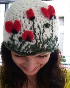 Crochet Hat with red poppies - Please Click on the image to view next