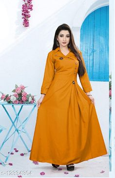 Checkout this latest Dresses Product Name: *Urbane Feminine Women Dresses* Fabric: Cotton Sleeve Length: Three-Quarter Sleeves Pattern: Solid Multipack: 1 Sizes: M (Bust Size: 38 in, Length Size: 55 in)  L (Bust Size: 40 in, Length Size: 55 in)  XL (Bust Size: 42 in, Length Size: 55 in)  XXL (Bust Size: 44 in, Length Size: 55 in)  Country of Origin: India Easy Returns Available In Case Of Any Issue   Catalog Rating: ★4 (380)  Catalog Name: Fancy Designer Women Dresses CatalogID_2370472 C79-SC1289 Code: 624-12334304-1701