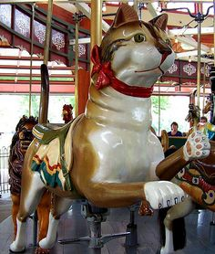 Cat on the Herschell-Spillman Carousel at Greenfield Village in Dearborn, MI