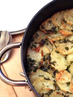 crispy garlic potato roast in the pan golden and brown