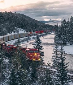 CP at Morant's Curve near Lake Louise Canadian Pacific Railway, Travel General, Beautiful Places To Live, O Canada, Train Tracks, Winter Photography, Dream Vacations, Beautiful Pictures, Around The Worlds