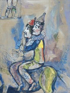 Marc Chagall (Russian-French, 1887-1985), Deux clowns à cheval (Cirque Vollard), 1927. Gouache, watercolor and pencil on thin card, 65 x 49.5 cm.