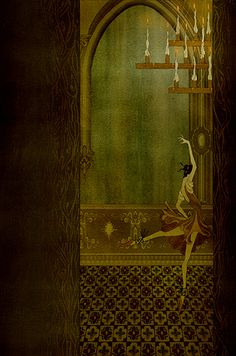 "Seven Gothic Tales by Isak Dinesen published by the Folio Society, 2013 - Kate Baylay, Illustrator - The Poet - ""The dance was more tun a real mazurka, very fiery and light…"""