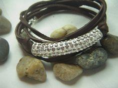 Leather and rhinestone tube bead triple wrap by Lisalousfancybeads, $20.00