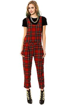 Miss wearing overalls: The Plaid Overalls in Red by See You Monday