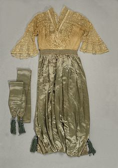 Evening dress Date: 1913–14 Culture: French Medium: cotton, silk Accession Number: 1975.21a, b