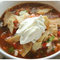 """Slow-Cooker Chicken Tortilla Soup   """"We live in Mexico and this is AS CLOSE TO AUTHENTIC as possible. I love """"cheater"""" recipes like this."""""""