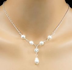 White Swarovski Pearl Bridal Necklace by PixieDustFineries