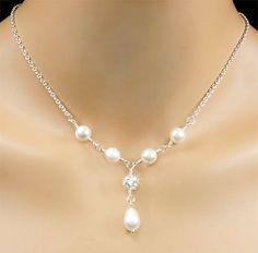 White Swarovski Pearl Bridal Necklace by PixieDustFineries