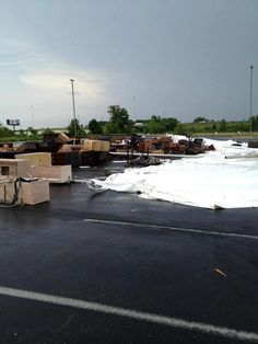 Downed Tent At Furniture Row Parking Lot. Toledo Storm damage on July 5th