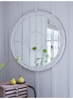White Window Mirror - Bring light into any room with this large, understated piece in a delicately distressed paint finish. £160.00