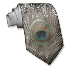 Peacock feather in neutral tones with a damask background for a #peacock #wedding #theme Groom's neck tie at http://www.zazzle.com/peacock_feather_damask_bg_neck_ties-151669653382556730?rf=238505586582342524