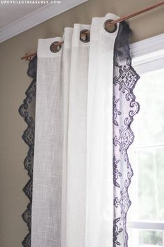 Anthropologie DIY Hacks, Clothes, Sewing Projects and Jewelry Fashion - Pillows, Bedding and Curtains - Tables and furniture - Mugs and Kitchen Decorations - DIY Room Decor and Cool Ideas for the Home | DIY Lace Curtains | http://diyprojectsforteens.com/diy-anthropologie-hacks