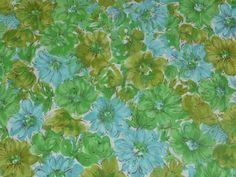 "Vtg Mid Century Cotton Floral Fabric Tan Green Blue 36"" x45"""