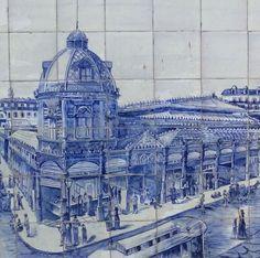 Azulejos (fábrica Sant`Anna). Mercado da Figueira, séc. XIX, Lisboa. Tiles (Sant`Anna factory). Figueira`s Market, 19th century, Lisbon.