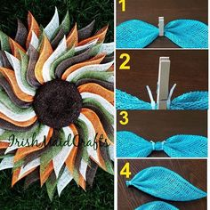 Thanks so much for sharing your steps on creating this gorgeous petal fold! Creativity is contagious, pass it on! Sunflower Burlap Wreaths, Mesh Ribbon Wreaths, Christmas Mesh Wreaths, Diy Fall Wreath, Burlap Flowers, Wreath Crafts, Deco Mesh Wreaths, Fall Wreaths, Wreath Ideas