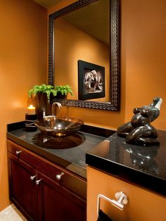 This beautifully designed contemporary powder room is proof that small spaces can make bold statements. The design works thanks to a warm, caramel-brown wall color and well-chosen art accents. Warm Bathroom, Small Bathroom, Concrete Bathroom, White Bathrooms, Office Bathroom, Luxury Bathrooms, Master Bathrooms, Bathroom Sinks, Dream Bathrooms