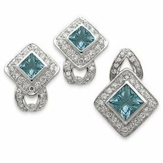 Sterling Silver Light Blue CZ Pendant and Earring Set - JewelryWeb JewelryWeb. $78.80. Save 50% Off!