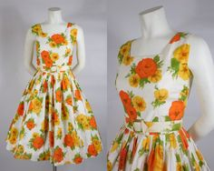 1950's Orange Floral Cotton Dress with Belt by Gallant California by vintagebluemoon on Etsy https://www.etsy.com/listing/219634777/1950s-orange-floral-cotton-dress-with