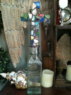 stained glass mosaic cross bottle