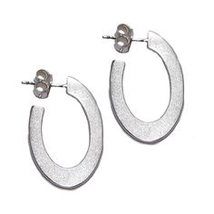 Flat Oval Silver Hoops (Small)