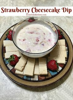 Strawberry Cheesecake Dip Recipe From Val's Kitchen - With Loacker Giveaway (sponsored) Homemade Desserts, Great Desserts, Best Dessert Recipes, Dip Recipes, Delicious Desserts, Strawberry Cheesecake Dip, Strawberry Recipes, Grilled Fruit, Sweet Treats