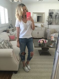 Ali Fedotowsky.. Madewell Slub Pocket V-Neck Tee, Lovers + Friends Ezra Jeans, and Converse Chuck Taylor Shoreline Sneakers.. #stylethebump