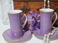 Purple Espresso / Demitasse Cups and Saucers by loftydreamsvintage