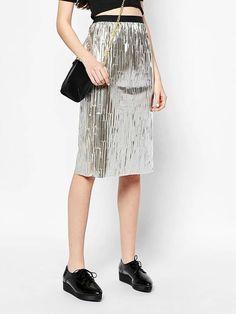 Gold Sequin Mesh Panel Elastic Waist Skirt | Choies