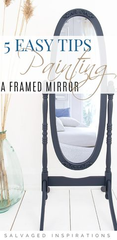 5 TIPS - How To Paint Framed Mirrors | Antique Mirror Makeover | Salvaged Inspirations  #siblog #salvagedinspirations #paintedfurniture #furniturepainting #DIYfurniture #furniturepaintingtutorials #howto #furnitureartist #furnitureflip #salvagedfurniture #furnituremakeover #beforeandafterfurnuture #paintedfurnituredieas #dixiebellepaint #redesignwithprima Diy Mirrored Furniture, Salvaged Furniture, Furniture Projects, Furniture Makeover, Painted Furniture, Diy Furniture, Framed Mirrors, Mirror Makeover, Mirror Painting