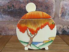 Fabulous Clarice Cliff Art Deco 1935 Taormina Orange Patterned Bonjour Jam Pot