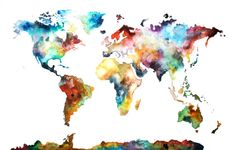 10x16 Watercolor Map Print, Original Painting, Watercolor World Map