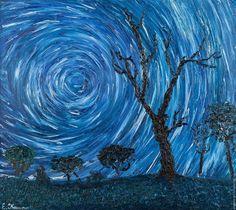 """Купить картина маслом """"Звездная ночь."""" - тёмно-синий, ночной пейзаж, ночное небо"""