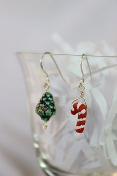 Ceramic Christmas Tree and Candy Cane asymmetrical by ktm1353