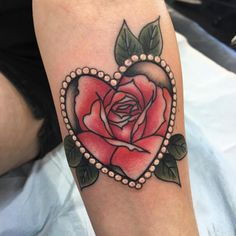 Rose heart tattoo by Nat G