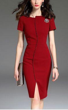 Slim Fit Professional Pencil Dress from Laur. Elegant Dresses, Pretty Dresses, Dress Outfits, Fashion Dresses, Look Fashion, Fashion Design, Cheap Fashion, Dress Silhouette, Classy Dress