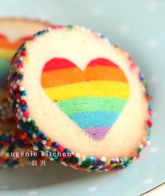 rainbow heart cookies - eugenie kitchen.... @jader13 Please get busy making these, they are adorable but I am lazy. :D