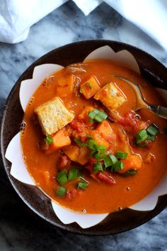 This crispy roasted tofu and curried peanut soup takes fall's best veggies and combines them with rich Thai spice to make a big pot of comfort.