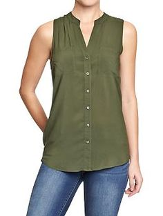 Women's Sleeveless Button-Front Tops | Old Navy