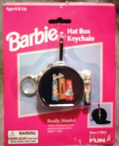 """Amazon.com: Barbie Vintage Reproductions """"Really Works"""" Series Hat Box, Lunch Kit and Queen of the Prom Game Keychain Set (All 3 in Series): Toys & Games Price:$64.99 + $4.99 shipping Only 1 left in stock. Barbie Games, Barbie Dolls, Prom Games, Game Prices, Barbie Accessories, It Works, Lunch, Hat, Queen"""