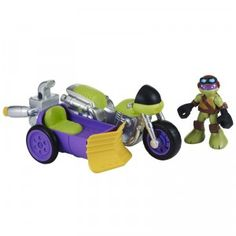 The Teenage Mutant Ninja Turtles: Half-Shell Heroes, Rippin' Rider with Biker Donnie is a motorcycle with a sidecar that comes with a 2.5-inch Donatello figure.