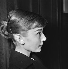 Audrey at a press conference, 1955