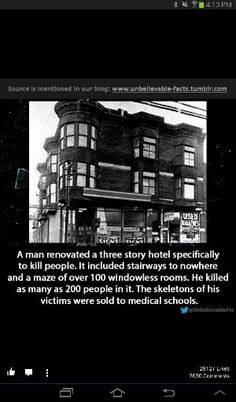 Serial Killer H. Holmes - Creepy as hell o. Short Creepy Stories, Spooky Stories, Ghost Stories, Horror Stories, Paranormal Stories, Strange Stories, Haunting Stories, Paranormal Photos, Creepy Facts