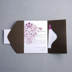 faire part mariage fushia fleure pochette style moderne JM319 #weddinginvitations #weddingcards #joyeuxmariage