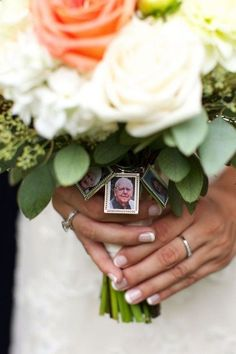 bouquet photo charms wedding ideas to honor loved ones