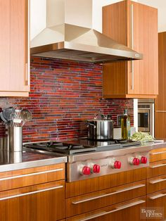Tips for styling around your kitchen's bold backsplash.