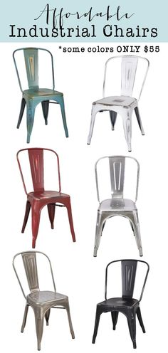 Farmhouse Industrial Cafe/Tolix chairs for an amazing price.  Come in many color options.  Perfect for your dining room, patio, desk chair, etc.  Get the look for less! (aff link)