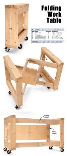 """Space Saving Folding Work Table <a href=""""http://www.popularwoodworking.com/projects/aw-extra-4512-folding-table-base"""" rel=""""nofollow"""" target=""""_blank"""">www.popularwoodwo...</a>"""